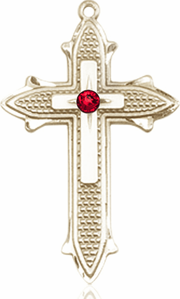 Large 14kt Gold Birthstone Crystal July Ruby Double Detailed Fancy Cross Necklace by Bliss