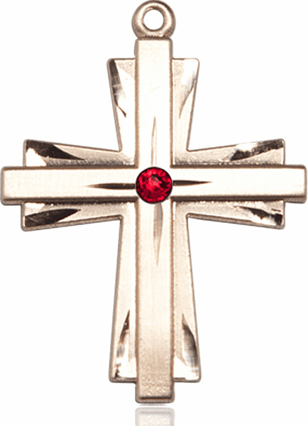 Large 14kt Gold Birthstone Crystal July Ruby Double Etched Cross Necklace by Bliss