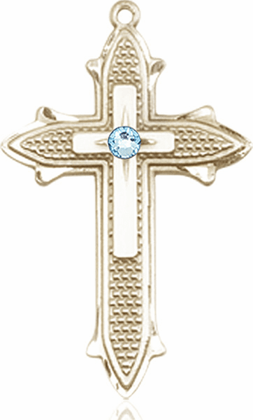 Large 14kt Gold Birthstone Crystal March Aqua Double Detailed Fancy Cross Necklace by Bliss