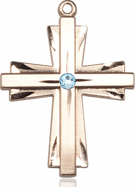 Large 14kt Gold Birthstone Crystal March Aqua Double Etched Cross Necklace by Bliss