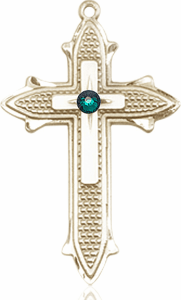 Large 14kt Gold Birthstone Crystal May Emerald Double Detailed Fancy Cross Necklace by Bliss