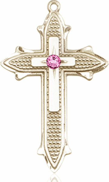 Large 14kt Gold Birthstone Crystal October Rose Double Detailed Fancy Cross Necklace by Bliss