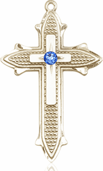 Large 14kt Gold Birthstone Crystal September Sapphire Double Detailed Fancy Cross Necklace by Bliss