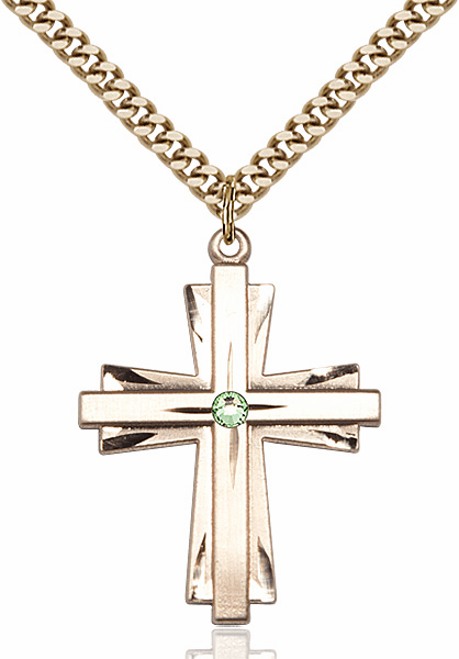 Large 14kt Gold-filled Birthstone Crystal August Peridot Double Etched Cross Necklace by Bliss