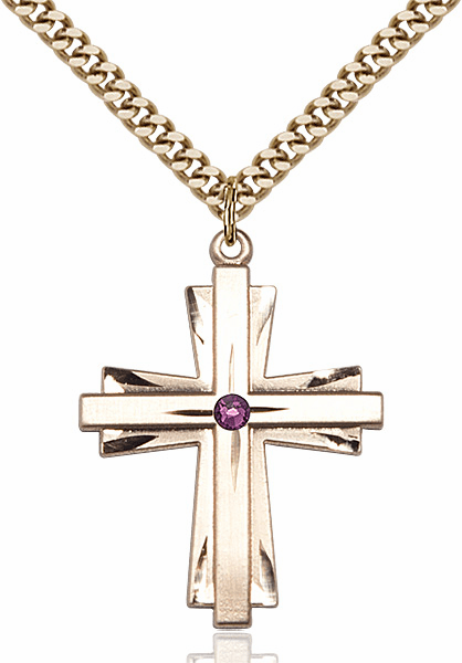 Large 14kt Gold-filled Birthstone Crystal February Amethyst Double Etched Cross Necklace by Bliss