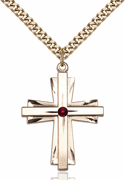 Large 14kt Gold-filled Birthstone Crystal January Garnet Double Etched Cross Necklace by Bliss