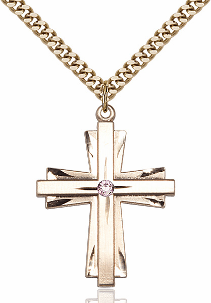 Large 14kt Gold-filled Birthstone Crystal June Lt Amethyst Double Etched Cross Necklace by Bliss