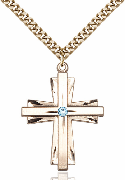 Large 14kt Gold-filled Birthstone Crystal March Aqua Double Etched Cross Necklace by Bliss