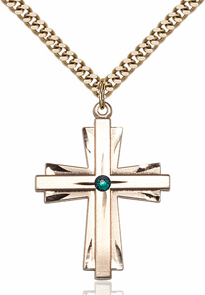 Large 14kt Gold-filled Birthstone Crystal May Emerald Double Etched Cross Necklace by Bliss