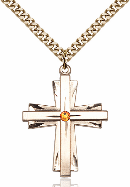Large 14kt Gold-filled Birthstone Crystal November Topaz Double Etched Cross Necklace by Bliss