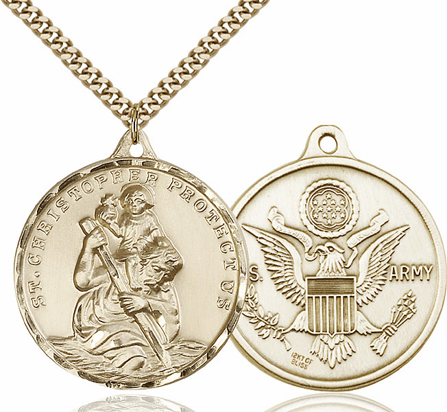 Large 14kt Gold-filled St Christopher US Army Military Necklace by Bliss