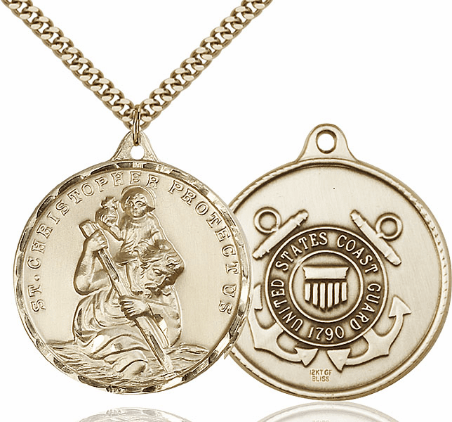 Large 14kt Gold-filled St Christopher US Coast Guard Pendant by Bliss