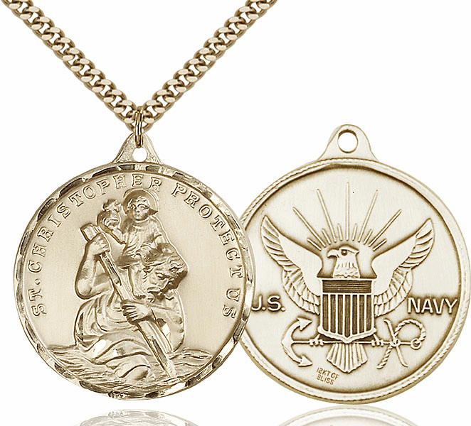 Large 14kt Gold-filled St Christopher US Navy Necklace by Bliss