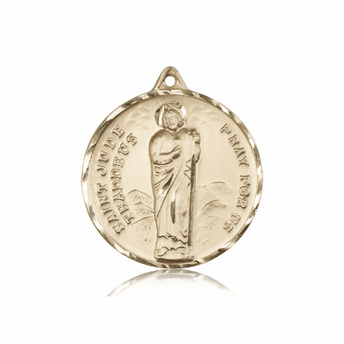 Large 14kt Gold St Jude Patron Saint Medal by Bliss