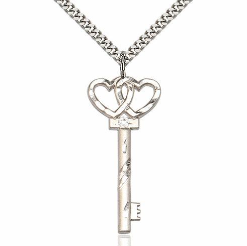 Large April Crystal Double Hearts Key Pendant Necklace by Bliss