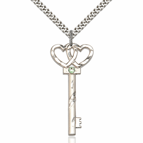 Large August Peridot Double Hearts Key Pendant Necklace by Bliss