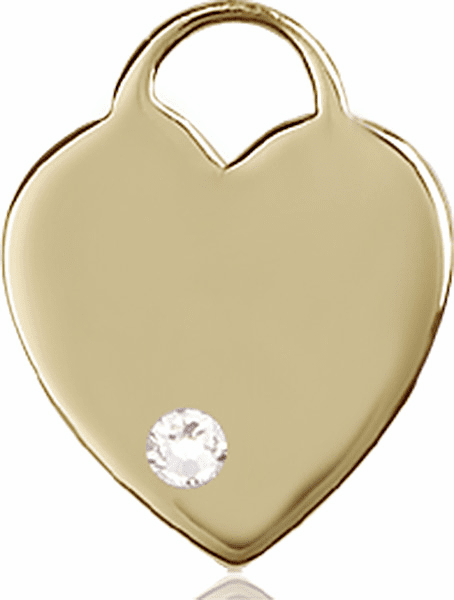 Large Birthstone 14kt Gold Crystal April Heart Necklace by Bliss
