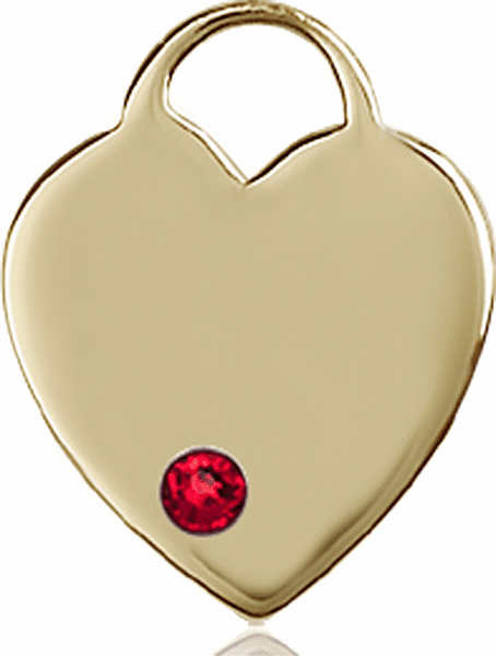 Large Birthstone 14kt Gold Crystal July Ruby Heart Necklace by Bliss