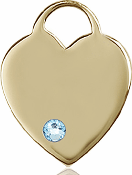 Large Birthstone 14kt Gold Crystal March Aqua Heart Necklace by Bliss