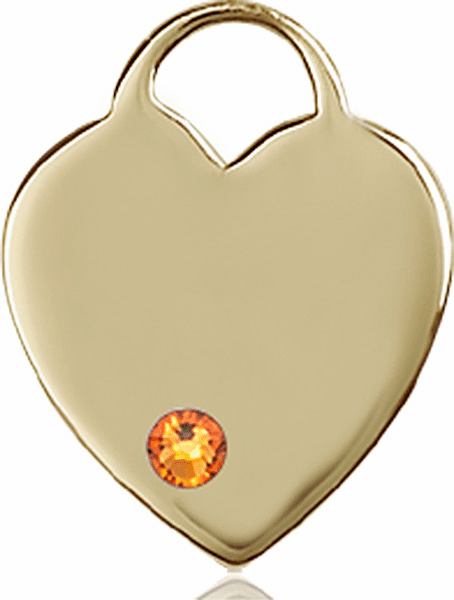 Large Birthstone 14kt Gold Crystal November Topaz Heart Necklace by Bliss