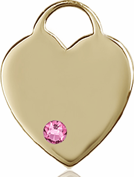 Large Birthstone 14kt Gold Crystal October Rose Heart Necklace by Bliss