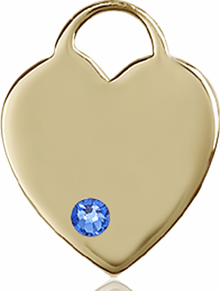 Large Birthstone 14kt Gold Crystal September Sapphire Heart Necklace by Bliss