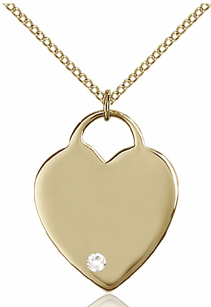 Large Birthstone 14kt Gold-filled Crystal April Heart Necklace by Bliss