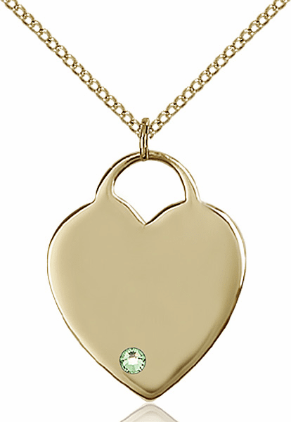 Large Birthstone 14kt Gold-filled Crystal August Peridot Heart Necklace by Bliss