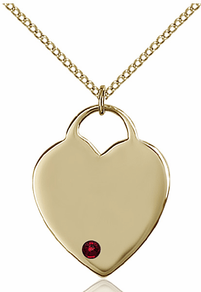 Large Birthstone 14kt Gold-filled Crystal January Garnet Heart Necklace by Bliss