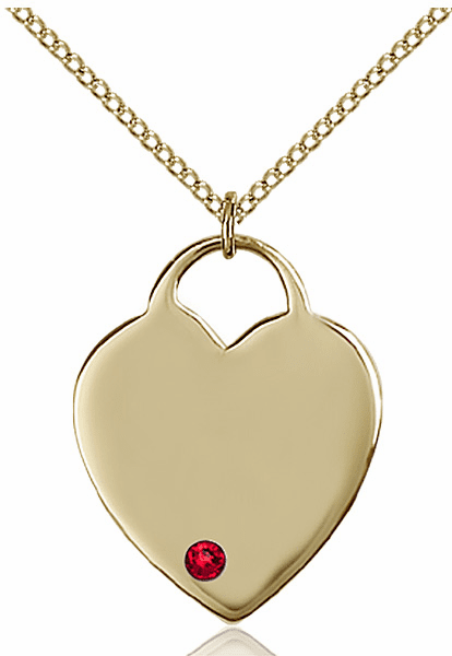 Large Birthstone 14kt Gold-filled Crystal July Ruby Heart Necklace by Bliss