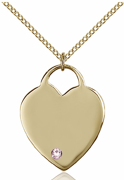 Large Birthstone 14kt Gold-filled Crystal June Lt Amethyst Heart Necklace by Bliss