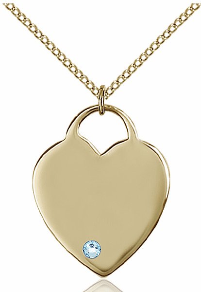 Large Birthstone 14kt Gold-filled Crystal March Aqua Heart Necklace by Bliss