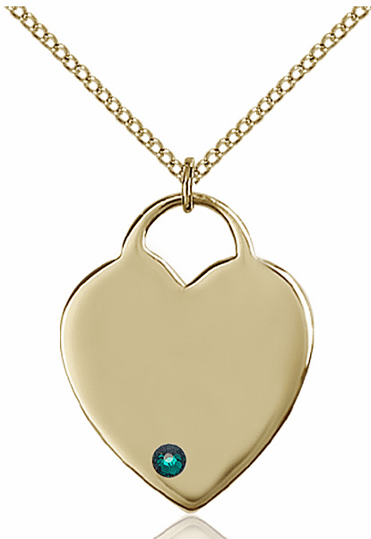 Large Birthstone 14kt Gold-filled Crystal May Emerald Heart Necklace by Bliss