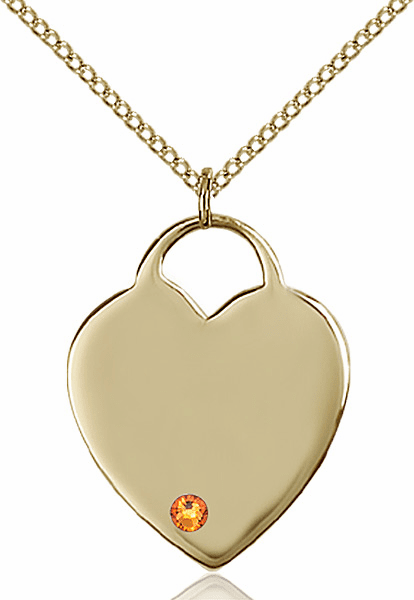 Large Birthstone 14kt Gold-filled Crystal November Topaz Heart Necklace by Bliss