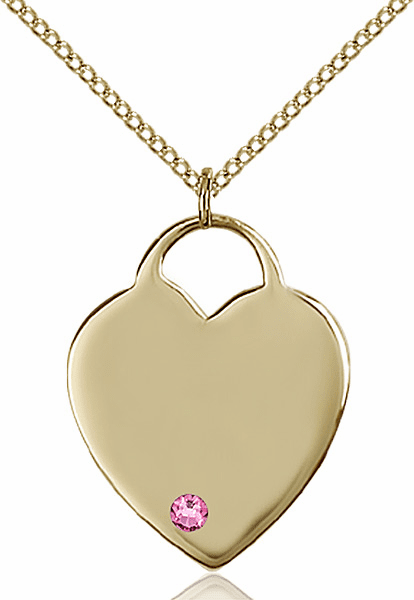 Large Birthstone 14kt Gold-filled Crystal October Rose Heart Necklace by Bliss