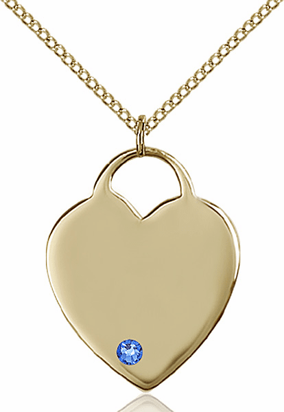 Large Birthstone 14kt Gold-filled Crystal September Sapphire Heart Necklace by Bliss
