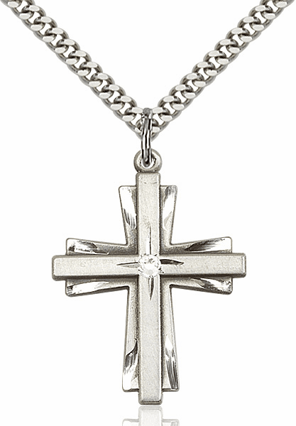 Large Birthstone Crystal April Double Etched Cross Necklace by Bliss