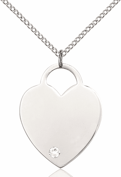 Large Birthstone Crystal April Heart Necklace by Bliss