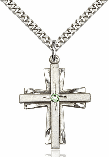 Large Birthstone Crystal August Peridot Double Etched Cross Necklace by Bliss
