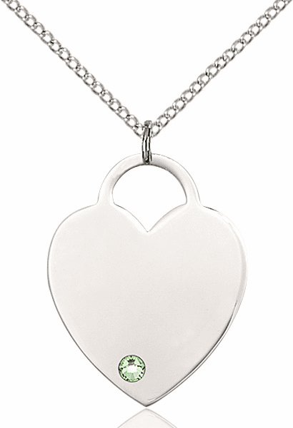 Large Birthstone Crystal August Peridot Heart Necklace by Bliss
