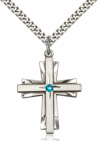 Large Birthstone Crystal December Zircon Double Etched Cross Necklace by Bliss