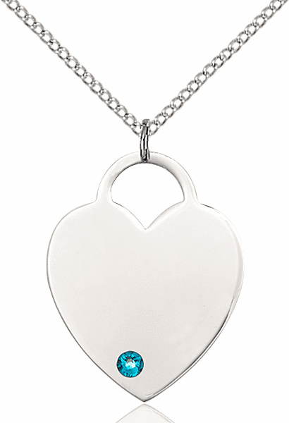 Large Birthstone Crystal December Zircon Heart Necklace by Bliss