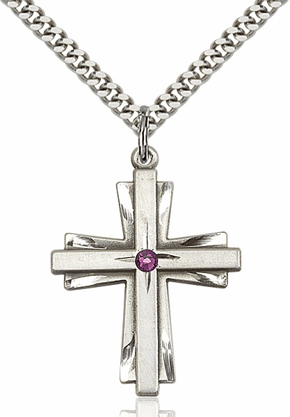 Large Birthstone Crystal February Amethyst Double Etched Cross Necklace by Bliss