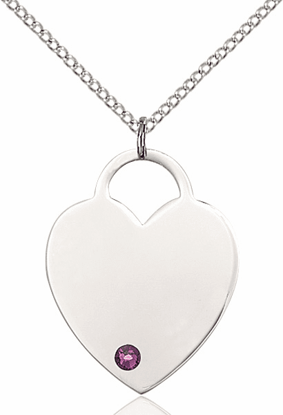 Large Birthstone Crystal February Amethyst Heart Necklace by Bliss