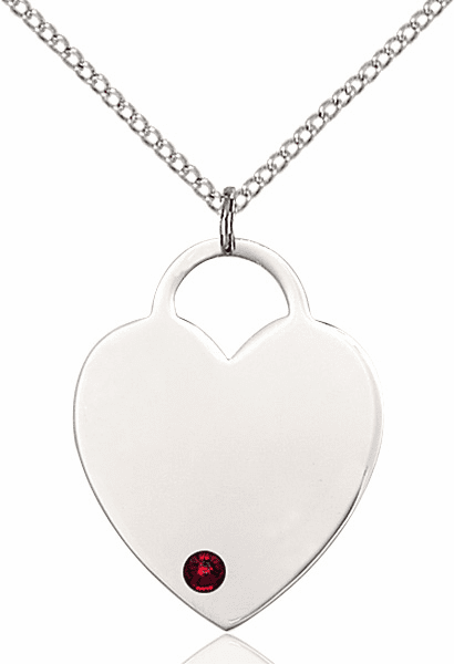 Large Birthstone Crystal January Garnet Heart Necklace by Bliss