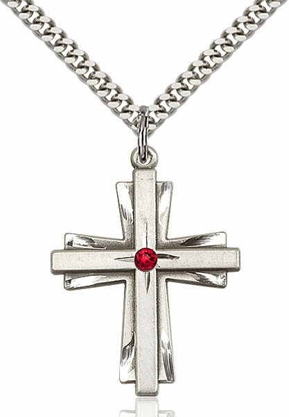 Large Birthstone Crystal July Ruby Double Etched Cross Necklace by Bliss