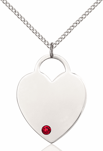 Large Birthstone Crystal July Ruby Heart Necklace by Bliss