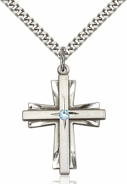 Large Birthstone Crystal March Aqua Double Etched Cross Necklace by Bliss