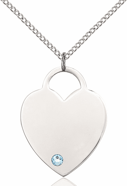 Large Birthstone Crystal March Aqua Heart Necklace by Bliss