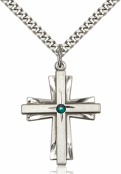 Large Birthstone Crystal May Emerald Double Etched Cross Necklace by Bliss